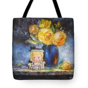 Yellow Roses And Headvase Girl Tote Bag