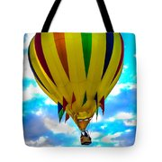 Yellow Striped Hot Air Balloon Tote Bag