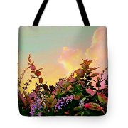 Yellow Sunrise With Flowers - Square Tote Bag