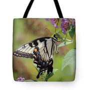 Yellow Swallowtail Butterfly Taking A Drink Tote Bag