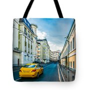 Yellow Taxi Of Moscow Tote Bag