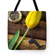 Yellow Tulip On Old Books Tote Bag