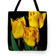 Yellow Tulips On Black Tote Bag
