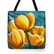 Yellow Tulips On Blue Tote Bag