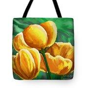 Yellow Tulips On Green Tote Bag