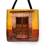 Yellow Wall Wooden Door Tote Bag