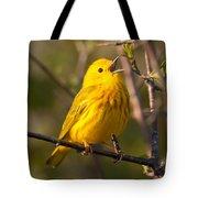 Yellow Warbler Singing Tote Bag