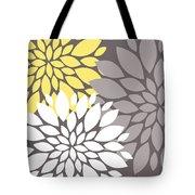 Yellow White Grey Peony Flowers Tote Bag