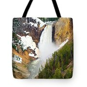 Yellowstone Falls In Spring Time Tote Bag