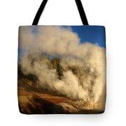 Yellowstone Riverside Eruption Tote Bag