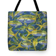 Yellowtail Frenzy In0023 Tote Bag