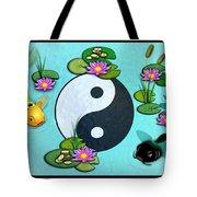 Yin Yang Koi Pond Scenery Tote Bag