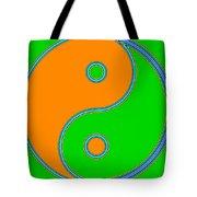 Yin Yang Orange Green Pop Art Tote Bag