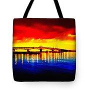 Yorktown Bridge Sunset Tote Bag by Bill Cannon