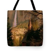 Yosemite Chapel And Falls In Color At Sunrise Tote Bag by Jeff Lowe
