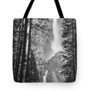 Yosemite Falls Black And White Tote Bag