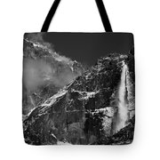 Yosemite Falls In Black And White Tote Bag