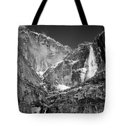 Yosemite Falls In Black And White II Tote Bag by Bill Gallagher