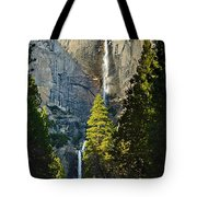 Yosemite Falls With Late Afternoon Light In Yosemite National Park. Tote Bag by Jamie Pham