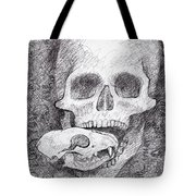 You Are What You Eat Skull Drawing Tote Bag