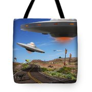You Never Know What You Will See On Route 66 Tote Bag by Mike McGlothlen