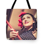 Young 50s Brunette Housewife Holding Red Mop Tote Bag