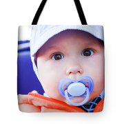 Young Baby Boy With A Dummy In His Mouth Outdoors Tote Bag