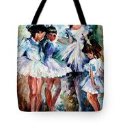 Young Ballerinas - Palette Knife Oil Painting On Canvas By Leonid Afremov Tote Bag