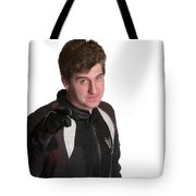 Young Biker Pointing Tote Bag