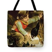 Young Boy With Birds In The Snow Tote Bag
