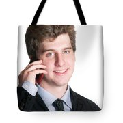 Young Business Man On The Cell Phone Tote Bag