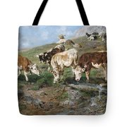 Young Cattle In Tyrol Tote Bag