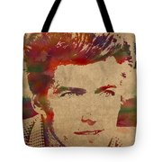 Young Clint Eastwood Actor Watercolor Portrait On Worn Parchment Tote Bag