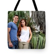 Young Couple Palm Tree Tote Bag