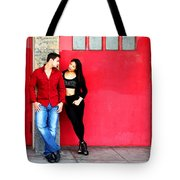 Young Couple Red Doors Tote Bag