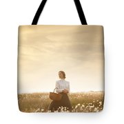 Young Edwardian Woman In A Meadow Tote Bag