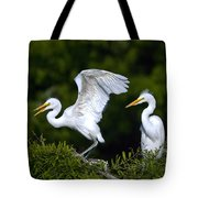 Young Egret Spreading His Wings Tote Bag