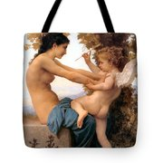 Young Girl Defending Herself Against Cupid Tote Bag