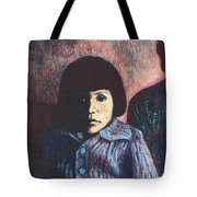 Young Girl In Blue Sweater Tote Bag