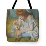 Young Girl Playing With A Doll Tote Bag