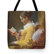 Young Girl Reading Tote Bag