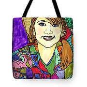 Young Girl With Cowboy Hat Tote Bag