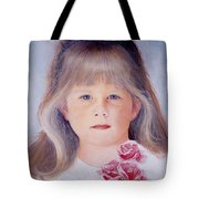 Young Girl With Roses Tote Bag