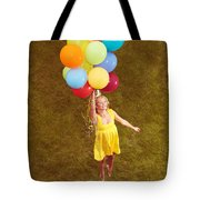 Young Happy Woman Flying On Colorful Helium Balloons Tote Bag