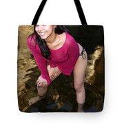 Young Hispanic Woman In Creek Tote Bag