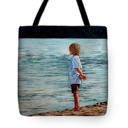 Young Lad By The Shore Tote Bag