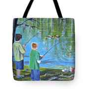 Young Lads Fishing Tote Bag