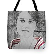 Young Lady With Multicolored Shawl Tote Bag