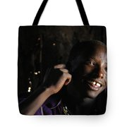 Young Maasai Warrior In The Village Tote Bag