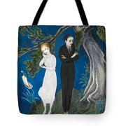Young Man In Black. Girl In White Tote Bag